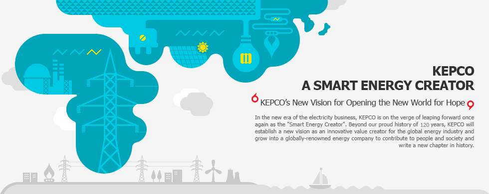 SMART ENERGY CREATOR KEPCO  KEPCO's New Vision for Opening the New World for HopeIn the new era of the electricity business, KEPCO is on the verge of leaping forward once again as the 'Smart Energy Creator'. Beyond our proud history of 116 years, KEPCO will establish a new vision as an innovative value creator for the global energy industry and grow into a globally-renowned energy company to contribute to people and society and write a new chapter in history.